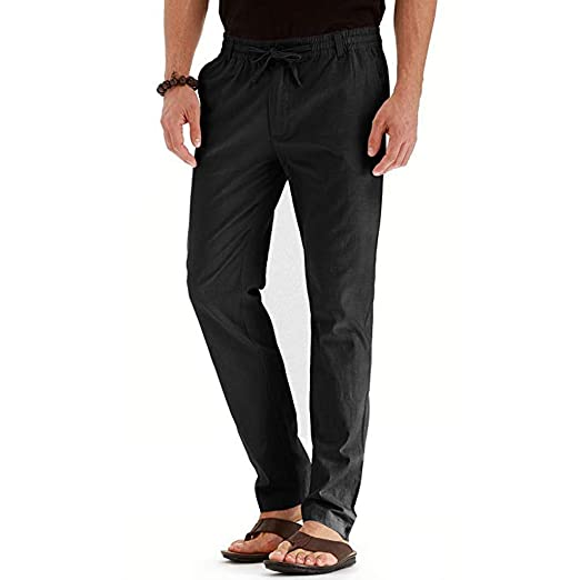 EUTUOPU Mens Casual Linen Cotton Trousers Elasticated Waist ...