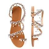 Shoe'N Tale Women's Bohemia Bling Rhinestone Pearl Flat Gladiator Sandals Toe Ring Dress Shoes (9.5 M US, 1-Silver Glitter)