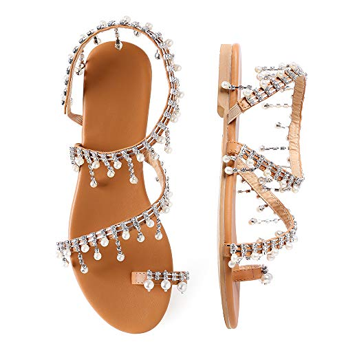 Shoe'N Tale Women Bling Rhinestone Pearl Flat Gladiator Sandals Toe Ring Dress Shoes (9.5 M US, 1-Silver Glitter)