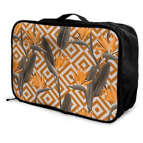 Travel Luggage Trolley Bag Portable Lightweight Suitcases Duffle Tote Bag Handbag, Bird Of Paradise Flower Pattern