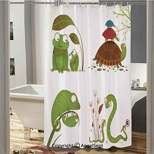 Reptile Family with Colorful Baby Collection Snake Frog Ninja Turtles Love Mother Bathroom Shower Curtain(37