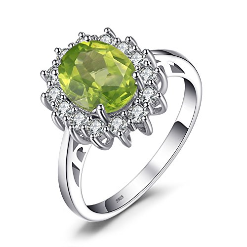 JewelryPalace Natural Gemstones Peridot Birthstone Halo Solitaire Engagement Rings For Women For Girls 925 Sterling Silver Ring Princess Diana William Kate Middleton Size 6 ()