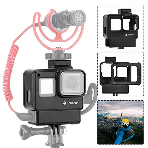 Artman Protective Housing Case Vlogging Frame Cage Mount with Microphone Cold Shoe Adapter Compatible for GoPro 7 6 5, Action Camera Accessories