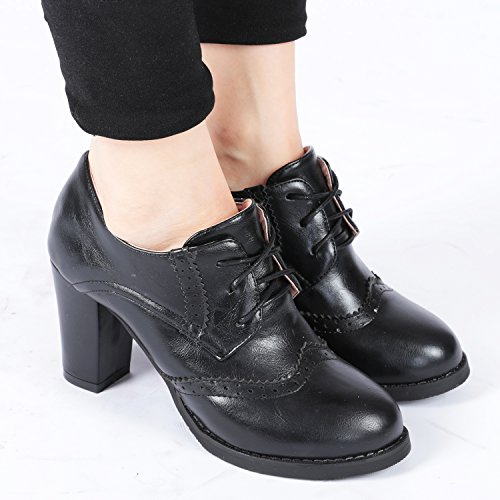 Black Ronde Oxford Chaussures Femmes Talon Haut De Sangle Bottines Tête Odema qx4wg7vU
