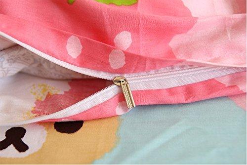 LELVA Pink Rilakkuma Bedding Sets, Kids Bedding Girls, Cotton Baby Bedding Set, Children's Duvet Cover Set (Fitted Sheet, Queen)