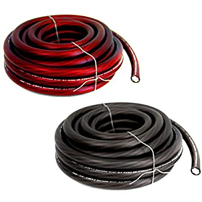 (2) BULLZ AUDIO 1/0 Gauge 25 FT Car Audio Power Wire Ground Cables | Red & Black