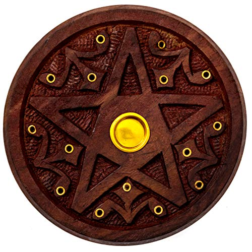 Alternative Imagination Pentagram Round Wooden Incense Holder for Incense Sticks and Cones