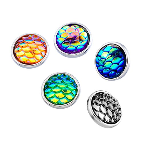 10k Pattern Bracelet - Loweryeah Mixed Fish Scale Pattern Acrylic Mini Snap Button Fit Bracelets 12mm Pack of 10pcs