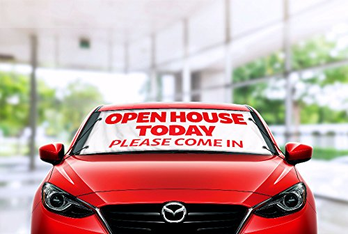 - Open House Windshield Banner Kit, Red, Vinyl, Weather Proof
