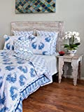 Peacock Tales ~ White Blue French Toile Peacock King Duvet Cover 108x90