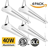 Amico 4ft Linkable Shop Light Led Garage Light Fixture, 40W 4800 Lumens 5000K Daylight, ETL & DLC Listed, Super Bright Durable LED Fixture with Pull Chain (4800Lumens Shop Light 4Pack)