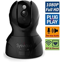 Sysvideo WiFi Security IP Camera, 1080P HD,Wireless Home Security Surveillance Monitor for Baby/Elder/Pet/Nanny, Pan/Tilt, 8x Digital Zoom, Two-Way Audio & Night Vision, Motion Alert, Ethernet