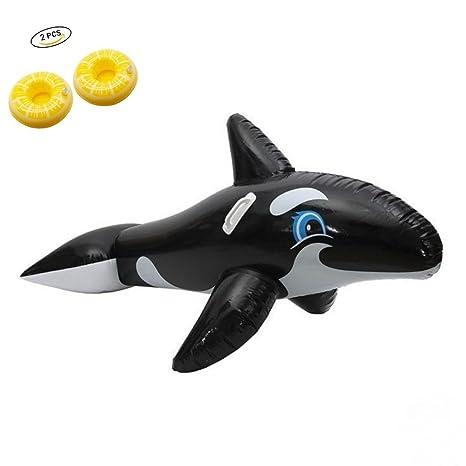 wanxing Gran flotador hinchable ballena de Animal fiestas de piscina, flotador para piscina de Large