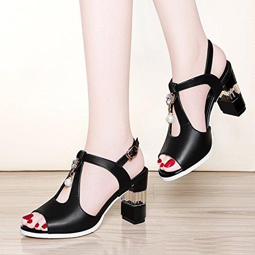 16 black Sandalias super sandalias cm RUGAI UE de tacón discoteca de laca sexy vZ7qO