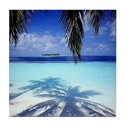 (CafePress - Paradise Tropical Island - Tile Coaster, Drink Coaster, Small Trivet)