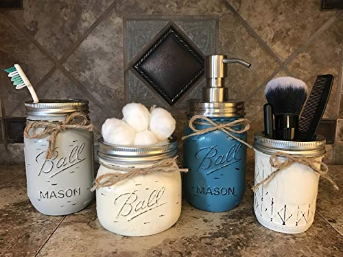 Ball Mason Jar BATHROOM SET ~Cotton Ball, Soap Dispenser, Cosmetic Brush Holder ~Canning JARS Hand PAINTED Distressed Pint ~Stainless Steel Silver ~Accessories ~Gray Light Blue Pewter Green Cream Tan