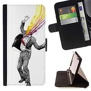 Momo Phone Case / Flip Funda de Cuero Case Cover - Resumen Gentleman;;;;;;;; - Samsung Galaxy Core Prime