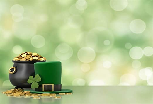 10x7ft Vinyl Magical St.Patricks Day Photo Backdrops Dreamy Pot of Gold Coins Abstract Clover Bokeh Haloes Background Child Adult Portraits Shoot Community Activities Luck Greeting Card
