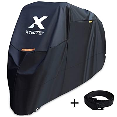 XYZCTEM Motorcycle Cover -Waterproof Outdoor Storage Bag,Made of Heavy Duty Material Fits up to 97 inch, Compatible with Harley Davison and All motors(Black& Lockholes& Professional Windproof Strap): Automotive