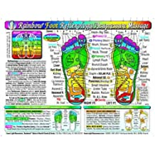 Rainbow FOOT Reflexology/ Acupressure Massage CHART by Inner Light Resources, 8.5 x 11 in; 2-sided (Small Poster/ Large Card)