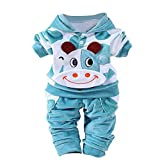 Brezeh for 0-24 Months Kids, Cute Kids Newborn Infant Baby Boys Girls Cartoon Cow Tops+Pants Outfits Set Printed Hoodie Clothes Sets (80, Blue)
