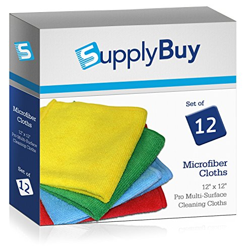 SupplyBuy Pro Multi-Surface Microfiber Towels | All-Purpose Cleaning Cloths | Pack of 12 - 12x12 (12