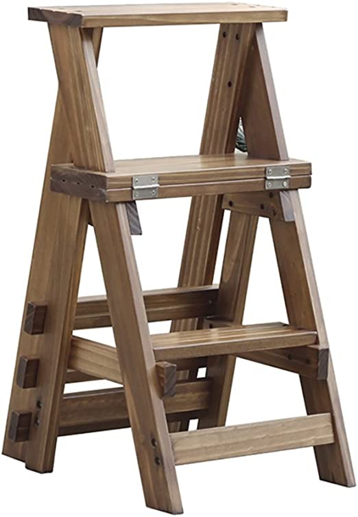 Escalera alta de 3 escalones Taburetes altos de madera maciza de doble uso Escalera plegable Silla /