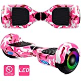 """SISIGAD Hoverboard Self Balancing Scooter 6.5"""" Two-Wheel Self Balancing Hoverboard with LED Lights Electric Scooter for Adult Kids Gift UL 2272 Certified - Pink Camouflage"""