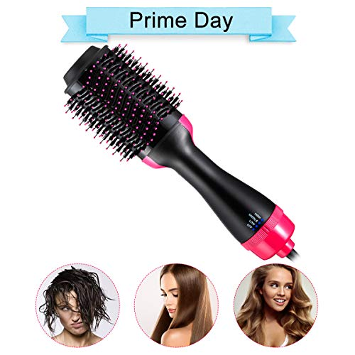 4 In 1 One Step Hair Dryer Brush Straightener Hair Dryer Comb Hot Air Brush Hair Curler Ionic Hair Brush Blow Dryer Ionic Salon Reduce Frizz Styling Hair Tool for All Hairstyle (Curler One 4 In Hair)