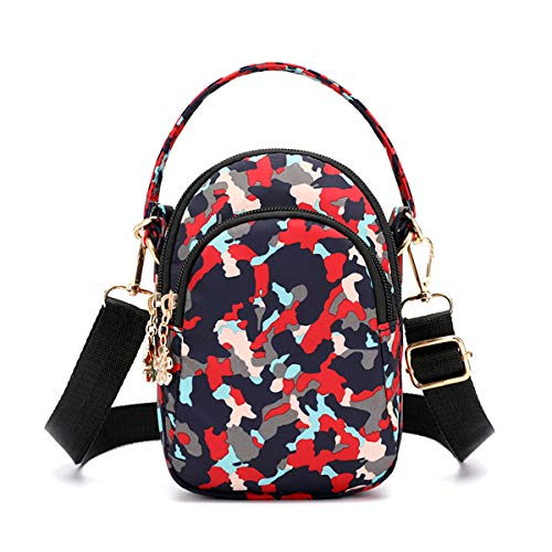 (Travel Crossbody Bags Small Shoulder Bag Wallet Purse Cellphone Pouch Stylish Handbag 3 Layers Chest Pockets Flower Pattern For Women Camouflage Red)