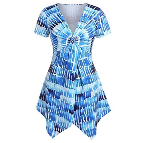 Witspace Womens Fashion Plus Size Asymmetrical V-Neck Print Short Sleeve Tops Shirt Blue