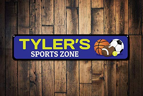 (Sports Zone Sign, Personalized Kid Name Room Sign, Basketball Football Tennis Soccer Sport Lover Bedroom Decor - Quality Aluminum Decoration)