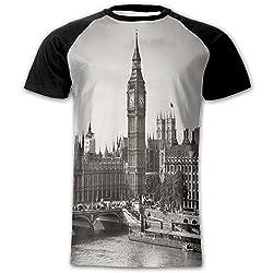 Newfood Ss Westminster with Big Ben and Bridge Nostalgic Image British Antique Architecture Men's Short Sleeve Raglan T L