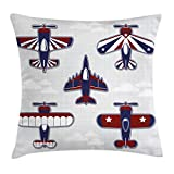 Lunarable Boy's Room Throw Pillow Cushion Cover, America Inspired Toy Planes with Stripes and Stars Patriotic Illustration, Decorative Square Accent Pillow Case, 16 X 16 Inches, Red White Blue