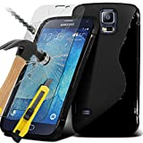 ONX3® ( Black ) Samsung Galaxy S5 Neo Case Custom Made S Line Wave Gel Case Skin Cover With Tempered Glass Crystal Clear LCD Screen Protectors, Polishing Cloth & Mini Retractable Stylus Pen