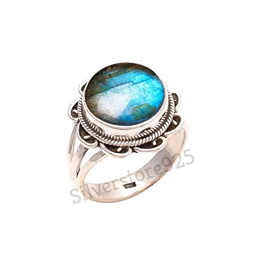 Blue Fire Labradorite Gemstone Handmade Ring Size 7 925 Sterling Silver Jewelry