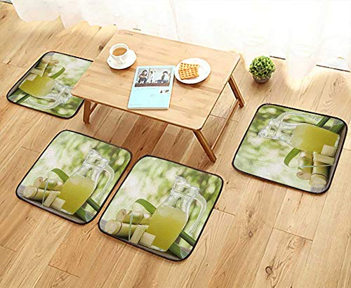 UHOO2018 Elastic Cushions Chairs Squeezed Sugar Cane Juice in Pitcher with Cut Pieces Cane on Nature Background for Living Rooms W29.5 x L29.5/4PCS Set