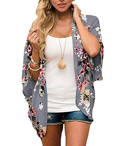 Women's 3/4 Sleeve Floral Kimono Cardigan, Sheer Loose Shawl Capes, Chiffon Beach Cover-Up, Casual Blouse Tops (I-Dark Grey, X-Large)