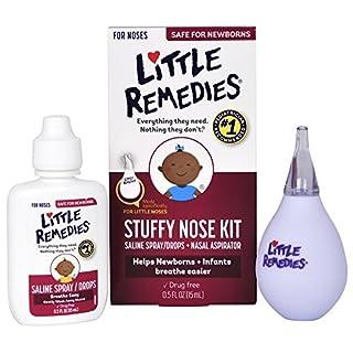 Little Remedies Stuffy Nose Kit | Saline Spray/Drops & Aspirator | 0.5 FL OZ