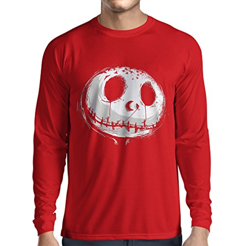 lepni.me Long Sleeve t Shirt Men Scary Skull Face - Nightmare - Halloween Outfit Party Costumes (Small Red Multi Color) -