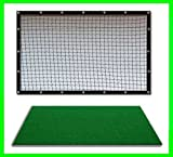 Golf Mat Golf Net Combo 9' x 10' High Velocity Impact Panel and a 3' x 4' Residential Golf Mat, Free Ball Tray/Balls/Tees/60 Min. Full Swing Training DVD/Impact Decals and Correction Guide With Every Order. Everything You Need In One Package by Dura-Pro G