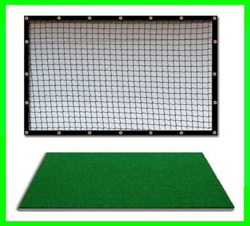 Golf Mat Golf Net Combo 9' x 15' High Velocity Impact Panel and a 4' x 6' Residential Golf Mat, Free Ball Tray/Balls/Tees/60 Min. Full Swing Training DVD/Impact Decals and Correction Guide With Every Order. Everything You Need In One Package by Dura-Pro G by Dura-Pro Residential Golf Mat 9x15 Net Combo