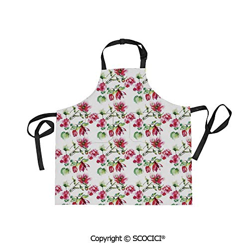 - SCOCICI Men Woman Kitchen Printed Apron with Adjustable Neck 2 Side Pockets,Shabby Chic Floral Details Roses Tulips with Leaves and Buds Colored Print,for Cooking Baking Gardening