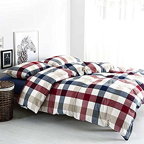 MKXI Cotton Queen Size Bed Duvet Cover Geometric Pattern Red Blue Grid Plaid Bedding Sets