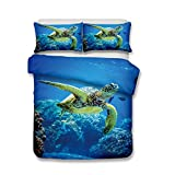 helengili 3d bedding set Sea turtle 3d print bedding bedclothes duvet cover sets bedlinen Comforter Cover 100% Microfiber Full