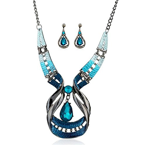 Gbell Clearance! Fine Blue Purple Enamel Necklace Earrings Women Jewelry Sets Statement - Crystal Waterdrop Earrings & Necklace Set Fashion for Teen Girls Ladies (Blue)