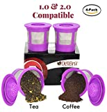 Appliances : 4 Reusable K Cups for Keurig 2.0 & 1.0 Coffee Makers. Universal Refillable KCup. Reusable kcup, k cup k-cups reusable filter, keurig filter by Delibru