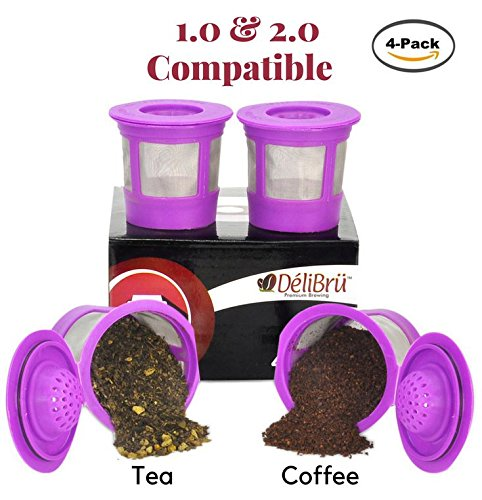 Hamilton Model Kit (4 Reusable K Cups for Keurig 2.0 & 1.0 Coffee Makers. Universal Refillable KCup. Reusable kcup, k cup k-cups reusable filter, keurig filter by Delibru)
