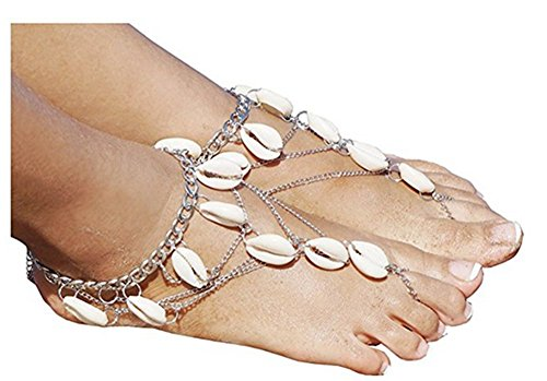 2pcs Shell Anklets Boho Vintage Tassel Anklets Foot Jewelry Barefoot Sandals Beach Anklet Chain (Jewelry Sandals)