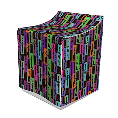 Ambesonne African Washer Cover, Colorful Abstract Geometric Pattern Frames with Women Carrying Vases on Heads, Dust and Dirt Free Decorative Print, 29